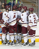 Connor Moore (BC - 7), Michael Kim (BC - 4), Austin Cangelosi (BC - 9), Ryan Fitzgerald (BC - 19), Matthew Gaudreau (BC - 21) - The visiting Merrimack College Warriors defeated the Boston College Eagles 6 - 3 (EN) on Friday, February 10, 2017, at Kelley Rink in Conte Forum in Chestnut Hill, Massachusetts.
