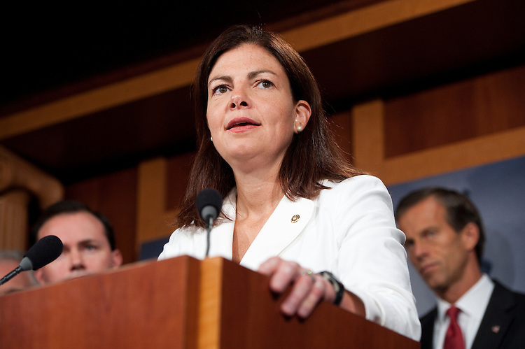 UNITED STATES - JULY 21: Sen. Kelly Ayotte, R-N.H., speaks during the Senate and House Republicans' news conference to call on the Senate to pass the cut, cap and balance bill on July 21, 2011. (Photo By Bill Clark/Roll Call)