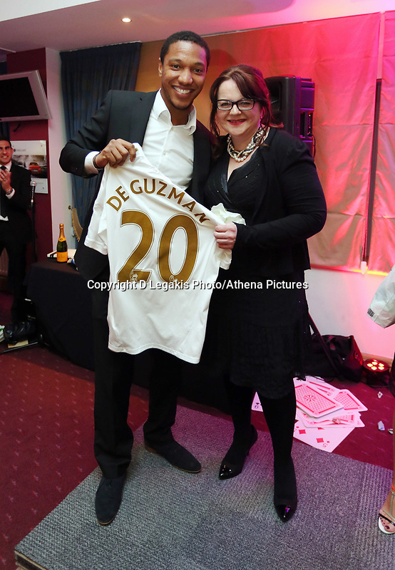 Pictured: Wednesday 10 April 2013<br /> Re: Swansea footballer Angel Rangel and wife Nicky's cancer charity fundraising dinner at the Liberty Stadium.<br /> Jonathan de Guzman
