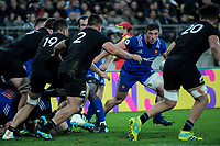 France's Camille Chat takes the ball up during the Steinlager Series international rugby match between the New Zealand All Blacks and France at Westpac Stadium in Wellington, New Zealand on Saturday, 16 June 2018. Photo: Dave Lintott / lintottphoto.co.nz