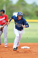 GCL Rays second baseman Jonathan Aranda (10) runs to third base during the first game of a doubleheader against the GCL Twins on July 18, 2017 at Charlotte Sports Park in Port Charlotte, Florida.  GCL Twins defeated the GCL Rays 11-5 in a continuation of a game that was suspended on July 17th at CenturyLink Sports Complex in Fort Myers, Florida due to inclement weather.  (Mike Janes/Four Seam Images)