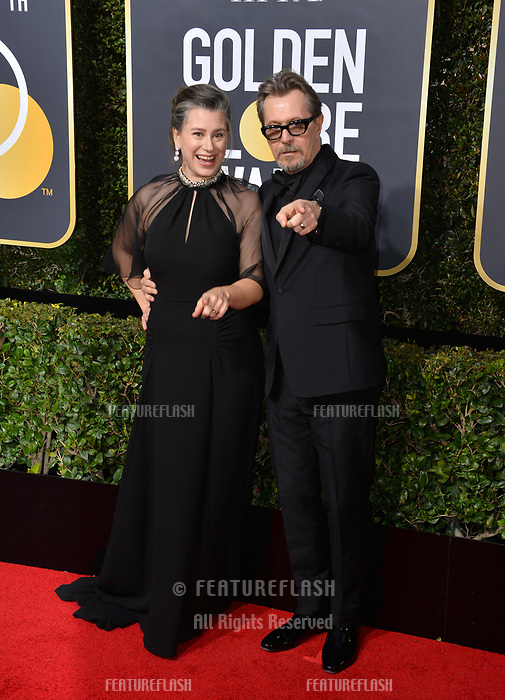 Gary Oldman & Gisele Schmidt at the 75th Annual Golden Globe Awards at the Beverly Hilton Hotel, Beverly Hills, USA 07 Jan. 2018<br /> Picture: Paul Smith/Featureflash/SilverHub 0208 004 5359 sales@silverhubmedia.com