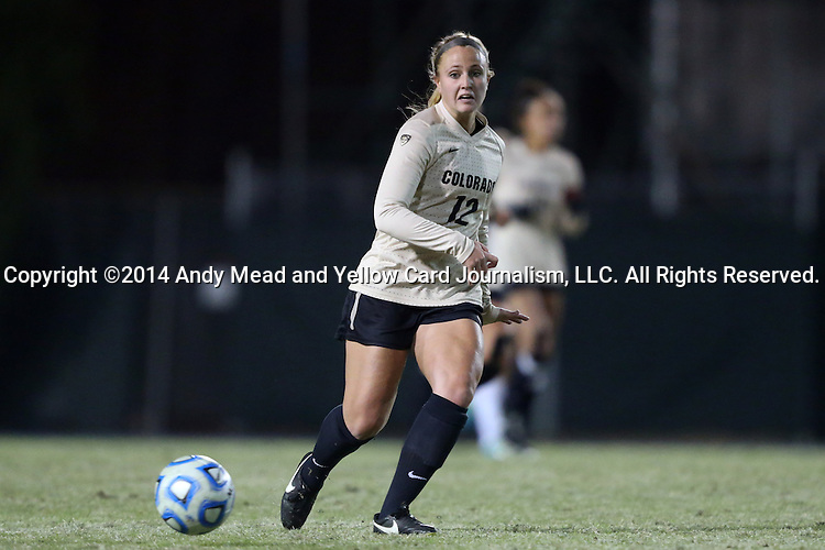 21 November 2014: Colorado's Carly Bolyard. The University of North Carolina Tar Heels hosted the University of Colorado Buffaloes at Fetzer Field in Chapel Hill, NC in a 2014 NCAA Division I Women's Soccer Tournament Second Round match. UNC won the game 1-0 in overtime.