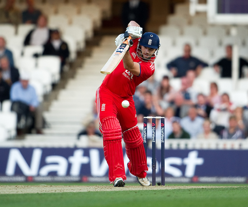 England's Michael Lumb in action against New Zealand in the first T20<br /> <br />  (Photo by Ashley Western/CameraSport) <br /> <br /> International Cricket - NatWest International T20 Series - England v New  Zealand - Tuesday 25th June 2013 - The Kia Oval, London <br /> <br />  &copy; CameraSport - 43 Linden Ave. Countesthorpe. Leicester. England. LE8 5PG - Tel: +44 (0) 116 277 4147 - admin@camerasport.com - www.camerasport.com
