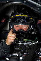 Sept. 5, 2010; Clermont, IN, USA; NHRA funny car driver Justin Schriefer during qualifying for the U.S. Nationals at O'Reilly Raceway Park at Indianapolis. Mandatory Credit: Mark J. Rebilas-