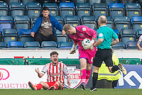 Ben Kennedy of Stevenage is booked for diving during the Sky Bet League 2 match between Wycombe Wanderers and Stevenage at Adams Park, High Wycombe, England on 12 March 2016. Photo by Andy Rowland/PRiME Media Images.