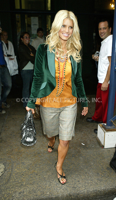 WWW.ACEPIXS.COM . . . . .  ....NEW YORK, SEPTEMBER 26, 2005....Jessica Simpson leaves her midtown hotel to attend an event in SoHo. She then departs from the event on Spring Street and heads to Jerry's for lunch. After grabbing a late lunch she returns to her midtown hotel.....Please byline: JENNIFER L GONZELES-ACE PICTURES.... *** ***..Ace Pictures, Inc:  ..Craig Ashby (212) 243-8787..e-mail: picturedesk@acepixs.com..web: http://www.acepixs.com
