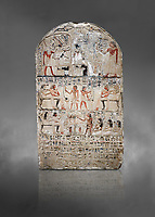 "Ancient Egyptian stele of s standard bearer Maienhekau, limestone, New Kingdom, 18th Dynasty, (1458-1425 BC), DAbydos,  Egyptian Museum, Turin. Grey background.<br /> <br /> In the top registerMaienhekau makes offerings to Ptah, Osiris and Horus. In the middle he is shown with his wife reveiving offerings from his 2 sons. In the lower register another son with 3 gaughters is offering a formula to Maienhekau, also listing his titles. He was standard bearer (captain) on several warships and the ""bearer of arms "" of Thutmosis II. The current depictions are over an earlier relief which can be seen in places where the later stucco has come away."