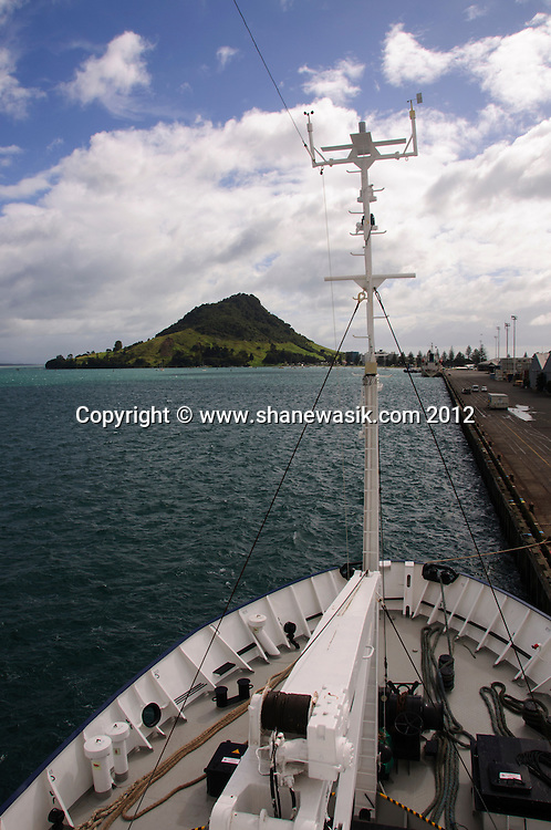 The expedition boat Spirit of Enderby tied up at Mount Maunganui wharf.