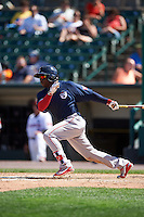 Pawtucket Red Sox center fielder Rusney Castillo (26) at bat during a game against the Rochester Red Wings on June 29, 2016 at Frontier Field in Rochester, New York.  Pawtucket defeated Rochester 3-2.  (Mike Janes/Four Seam Images)
