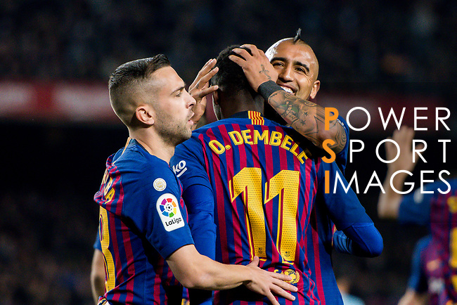 Ousmane Dembele of FC Barcelona celebrates with teammates during the La Liga 2018-19 match between FC Barcelona and RC Celta de Vigo at Camp Nou on 22 December 2018 in Barcelona, Spain. Photo by Vicens Gimenez / Power Sport Images