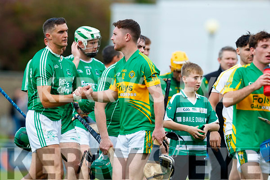 The Ballyduff and Lixnaw teams after the Senior County Hurling Final in Austin Stack Park on Sunday