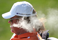 25 SEP 12  European co-captain Miguel Angel Jiminez is obscured by fumes during Tuesdays Celebrity Scramble and practice Round at  The 39th Ryder Cup at The Medinah Country Club in Medinah, Illinois.