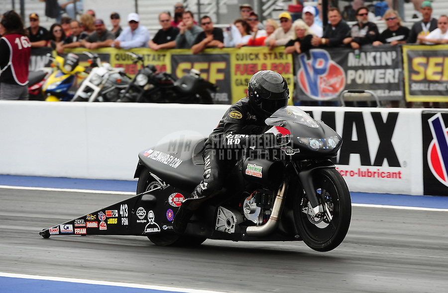 Sept. 18, 2011; Concord, NC, USA: NHRA pro stock motorcycle rider Paul Ray Jr during the O'Reilly Auto Parts Nationals at zMax Dragway. Mandatory Credit: Mark J. Rebilas-