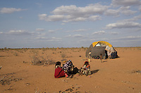 Kenya - Dadaab - 21st July 2011. A makeshift tent built by new refugees who arrived 16 days ago and had to settle far from the camp as they were chased by the local community.