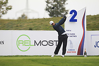 Lucas Bjerregaard (DEN) on the 2nd tee during Round 2 of the D+D Real Czech Masters at the Albatross Golf Resort, Prague, Czech Rep. 01/09/2017<br /> Picture: Golffile | Thos Caffrey<br /> <br /> <br /> All photo usage must carry mandatory copyright credit     (&copy; Golffile | Thos Caffrey)