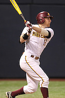 Minnesota Golden Gophers outfielder Andy Henkemeyer #13 bats during a game against the Texas Longhorns at the Metrodome on March 22, 2013 in Minneapolis, Minnesota. (Brace Hemmelgarn/Four Seam Images)