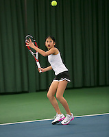 Rotterdam, The Netherlands, 15.03.2014. NOJK 14 and 18 years ,National Indoor Juniors Championships of 2014, Demi Tran (NED)<br /> Photo:Tennisimages/Henk Koster