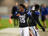 IMG Academy Ascenders K.J. Hamler (15) celebrates as the game ends against the St. Frances Academy Panthers on November 12, 2016 at IMG Academy in Bradenton, Florida.  IMG defeated St. Frances 38-0.  (Mike Janes Photography)