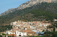 Village below cliffs. Priorato, Catalonia, Spain