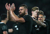 Angus Ta'avao celebrates winning the Bledisloe Cup rugby match between the New Zealand All Blacks and Australia Wallabies at Eden Park in Auckland, New Zealand on Saturday, 17 August 2019. Photo: Simon Watts / lintottphoto.co.nz