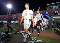 USA team captian Brian McBride leads the USA squad on to the field against Panama Panama City, Panama, Wednesday, June 8, 2005. USA won 3-0.