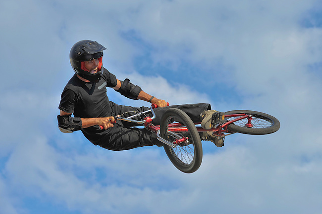 16 August, 2012:  Jimmy Walker competes during the  BMX Vert Final: Round 1 at the Pantech Beach Championships in Ocean City, MD