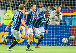 Stockholm 2015-05-25 Fotboll Allsvenskan Djurg&aring;rdens IF - AIK :  <br /> Djurg&aring;rdens Kerim Mrabti firar sitt 2-2 m&aring;l med Nyasha Mushekwi och Jesper Karlstr&ouml;m under matchen mellan Djurg&aring;rdens IF och AIK <br /> (Foto: Kenta J&ouml;nsson) Nyckelord:  Fotboll Allsvenskan Djurg&aring;rden DIF Tele2 Arena AIK Gnaget jubel gl&auml;dje lycka glad happy