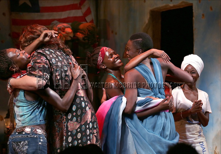 Zainab Jah, Liesl Tommy, Danai Gurira, Lupita Nyong'o, Pascale Armand, Akosua Busia onstage during the 'Eclipsed' broadway opening night curtain call at The Golden Theatre on March 6, 2016 in New York City.