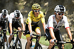The peloton led by Team Sky with Yellow Jersey Geraint Thomas (WAL) in action during Stage 14 of the 2018 Tour de France running 188km from Saint-Paul-Trois-Chateaux to Mende, France. 21st July 2018. <br /> Picture: ASO/Pauline Ballet | Cyclefile<br /> All photos usage must carry mandatory copyright credit (&copy; Cyclefile | ASO/Pauline Ballet)