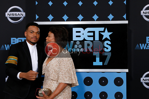 Chance the Rappe, Lisa Bennett<br /> at the BET Awards 2017, Microsoft Theater, Los Angeles, CA 06-25-17<br /> David Edwards/DailyCeleb.com 818-249-4998