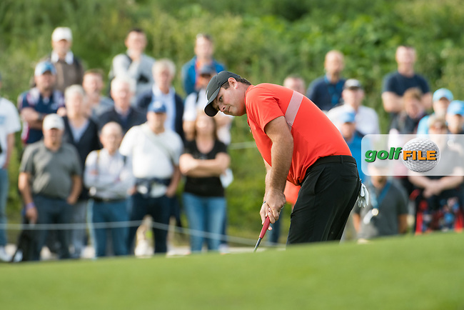 Patrick Reed (USA) in action on the 1st hole during the 2nd round at the KLM Open, The International, Amsterdam, Badhoevedorp, Netherlands. 13/09/19.<br /> Picture Stefano Di Maria / Golffile.ie<br /> <br /> All photo usage must carry mandatory copyright credit (© Golffile | Stefano Di Maria)