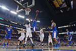 07 April 2014: Julius Randle (30) of the University of Kentucky shoots against the University of Connecticut during the 2014 NCAA Men's DI Basketball Final Four Championship at AT&T Stadium in Arlington, TX. Connecticut defeated Kentucky 60-54 to win the national title. Peter Lockley/NCAA Photos