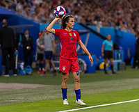 LYON,  - JULY 2: Kelley O'Hara #5 throws in the ball during a game between England and USWNT at Stade de Lyon on July 2, 2019 in Lyon, France.