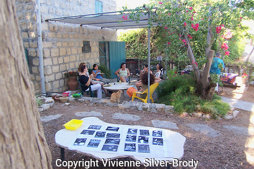 Having tea after a photogram workshop at Silver Print Gallery, Ein Hod