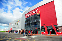 A general view outside Parc Y Scarlets prior to the Guinness Pro14 Round 6 match between Scarlets and Ospreys at the Parc Y Scarlets in Llanelli, Wales, UK. October 06, 2018