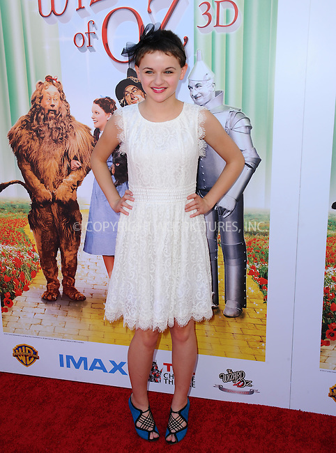 WWW.ACEPIXS.COM<br /> <br /> September 15 2013, LA<br /> <br /> Joey King at 'The Wizard Of Oz 3D' world premiere at TCL Chinese Theatre on September 15, 2013 in Hollywood, California.<br /> <br /> <br /> By Line: Peter West/ACE Pictures<br /> <br /> <br /> ACE Pictures, Inc.<br /> tel: 646 769 0430<br /> Email: info@acepixs.com<br /> www.acepixs.com