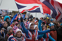 happy british fans sheering for Ben Tullet (GBR) on the podium<br /> <br /> men's junior Race<br /> UCI CX Worlds 2018<br /> Valkenburg - The Netherlands