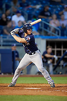 San Antonio Missions catcher Stephen McGee (9) at bat during a game against the Tulsa Drillers on June 1, 2017 at ONEOK Field in Tulsa, Oklahoma.  Tulsa defeated San Antonio 5-4 in eleven innings.  (Mike Janes/Four Seam Images)