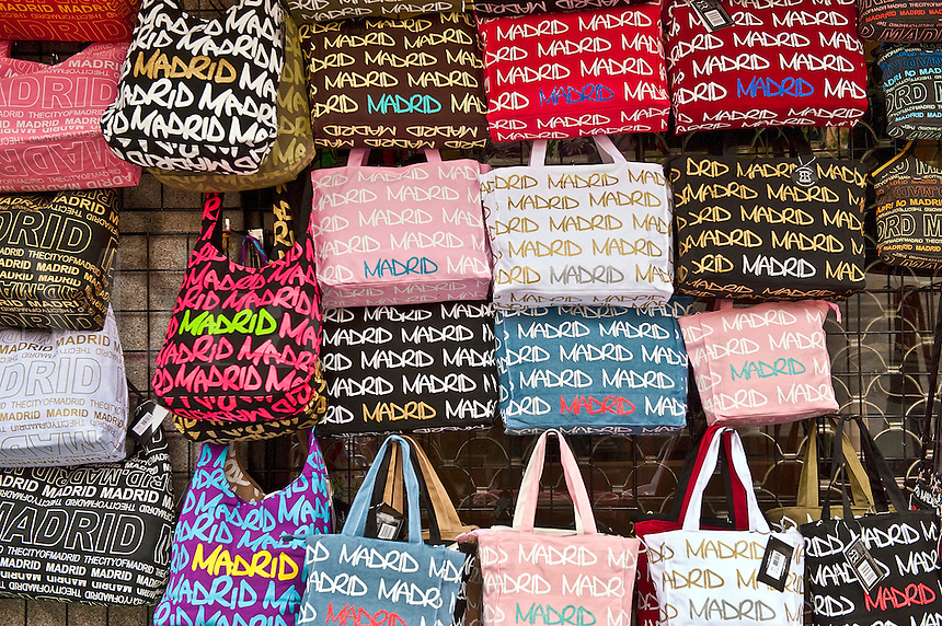 Madrid bags for sale in the El Ratro market, Madrid, Spain