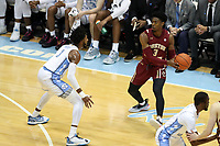 CHAPEL HILL, NC - FEBRUARY 1: Jared Hamilton #3 of Boston College is guarded by Leaky Black #1 of the University of North Carolina during a game between Boston College and North Carolina at Dean E. Smith Center on February 1, 2020 in Chapel Hill, North Carolina.