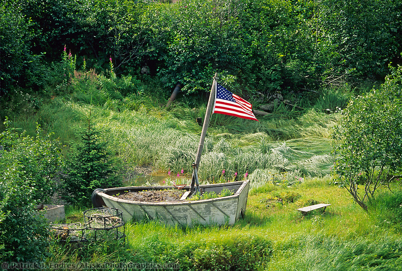 Relic boat and American flag, Cordova, Eastern Prince William Sound, Alaska