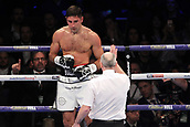 24th March 2018, O2 Arena, London, England; Matchroom Boxing, WBC Silver Heavyweight Title, Dillian Whyte versus Lucas Browne; Frank Buglioni Versus Callum Johnson British and Commonwealth Light Heavyweight championship; Frank Buglioni receives an eight count after being knocked down in the first round by Callum Johnson