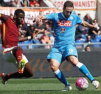 Calcio, Serie A: Roma vs Napoli. Roma, stadio Olimpico, 25 aprile 2016.<br /> Napoli's Gonzalo Higuain, right, is challenged by Roma's Antonio Ruediger during the Italian Serie A football match between Roma and Napoli at Rome's Olympic stadium, 25 April 2016.<br /> UPDATE IMAGES PRESS/Riccardo De Luca
