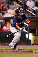 Pawtucket Red Sox outfielder Che-Hsuan Lin #35 at bat during a game against the Rochester Red Wings at Frontier Field on August 30, 2011 in Rochester, New York.  Rochester defeated Pawtucket 8-6.  (Mike Janes/Four Seam Images)