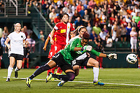 Portland Thorns goalkeeper Karina LeBlanc (1) punches the ball clear. The Portland Thorns defeated the Western New York Flash 2-0 during the National Women's Soccer League (NWSL) finals at Sahlen's Stadium in Rochester, NY, on August 31, 2013.