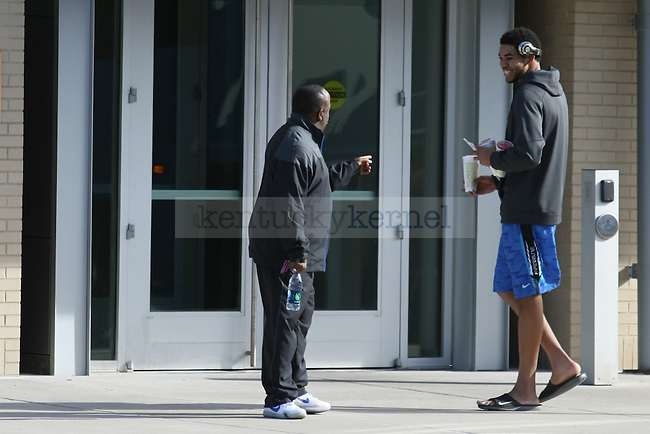 Kentucky forward Karl-Anthony Towns talks to strength coach Robert Harris at the Wildcat Lodge in Lexington, Ky., on  Wednesday, April 1, 2015. Photo by Adam Pennavaria | Staff