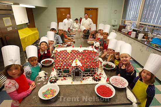 With help from Grand America Hotel chefs, Montessori Community School students will decorate a huge gingerbread house, which will be auctioned off to raise funds for the school.  .  Thursday, November 12 2009.