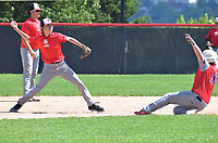 RICK PECK/SPECIAL TO MCDONALD COUNTY PRESS McDonald County shortstop Parker Toney throws to first base and forcing out a Bartlesville runner during McDonald County's 10-2 loss on June 8 in the College of the Ozarks Showcase in Branson.