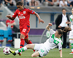 VfL Wolfsburg's Elise Bussaglia (r) and Olympique Lyonnais's Elodie Thomis during UEFA Women's Champions League 2015/2016 Final match.May 26,2016. (ALTERPHOTOS/Acero)